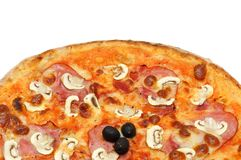 Close up of big italian pizza with ham and mushrooms Stock Images