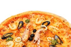 Close up of big italian pizza with seafood and norway lobster Royalty Free Stock Photos