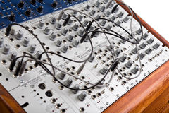 Close up of a big modular synthesizer. Closeup of an analog modulare synthesyzer in a recording studio Stock Images