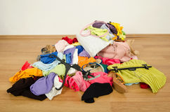 Close up on a big pile of clothes and accessories  Royalty Free Stock Photo