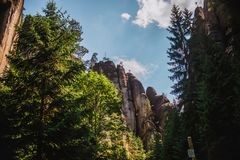 Close up on big rock mountain in the Adrspach - Teplice in Czech Royalty Free Stock Photos