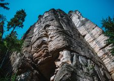 Close up on big rock mountain in the Adrspach - Teplice in Czech Stock Images