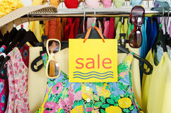 Close up on a big sale sign for summer clothes. Royalty Free Stock Photography