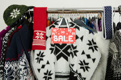 Close up on a big sale sign for winter clothes. Royalty Free Stock Photography