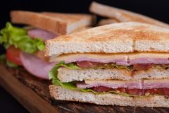 Close-up big sandwich with ham, cheese, tomatoes and salad on toasted bread on a dark background Royalty Free Stock Image