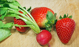 Strawberry and radish Stock Photo