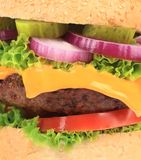 Close up of big tasty hamburger. Stock Photography