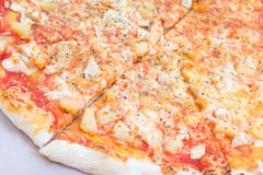 Close up of big tasty pizza in carton box Royalty Free Stock Photo
