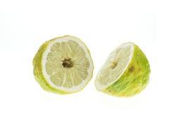Close up big Thai green lemon isolated on white Royalty Free Stock Photos