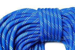 Close up of bight of dynamic rope using in sport climbing Stock Image