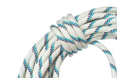 Close up of bight of rope using in speleo activity and working o. N height, isolated on white background stock images