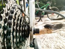Close up of bicycle gears - MTB royalty free stock images