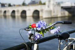Close up bike with purple flowers, against fence of bridge. Maastricht, Holland royalty free stock image