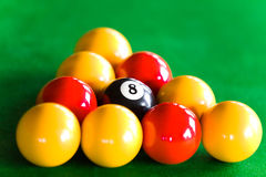 Close-up of billiard balls disposed in triangle Royalty Free Stock Photography