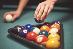 Close up of billiard balls Royalty Free Stock Images
