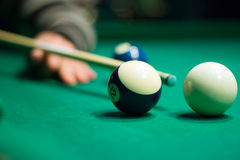 Close up billiard cue and billiard ball Stock Photography