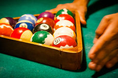 Close up of billiard table with balls in entertainment club Royalty Free Stock Image
