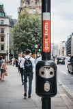 Close up of the bin for gums and butts in London, UK. stock photo