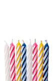 Close up of birthday candles on white Stock Photos