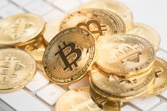 Bitcoin with keyboard Royalty Free Stock Images