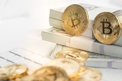 Bitcoin with little figure on keyboard Royalty Free Stock Image