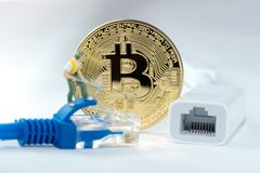 Bitcoin money mining connect Internet Network Stock Photography