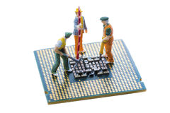 Close up of Bitcoin money mining on graphic card,we see the technology of the mainboard Royalty Free Stock Images