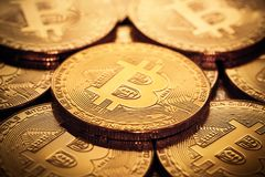Close up of bitcoins Royalty Free Stock Images