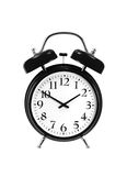 Close up of a black bell clock (alarm clock) isolated on white Royalty Free Stock Photography