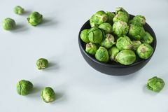 Fresh organic Brussels sprouts in black bowl royalty free stock photography