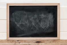 Close up a black chalkboard with wooden frame on wooden floor. Stock Photo