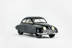 Close up of black classic car scale model. Stock Photos