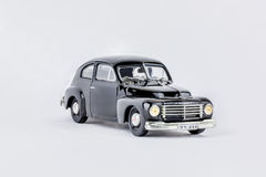 Close up of black classic vintage car, scale model. Royalty Free Stock Photo