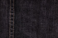 Close up of black denim and stiches Royalty Free Stock Photography