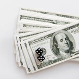 Close up of black dice and usa dollar money Royalty Free Stock Photography