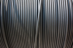Close-up of black electricity cable Royalty Free Stock Photo