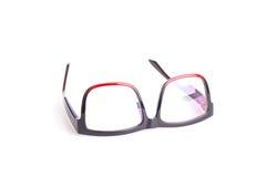 Close up black eye glasses isolated on white. Background royalty free stock image