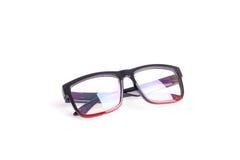Close up black eye glasses isolated on white. Background stock image