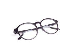 Close up black eye glasses isolated on white. Background stock images