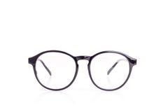 Close up black eye glasses isolated on white. Background royalty free stock photography