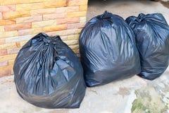 Close up black garbage bags Royalty Free Stock Photo