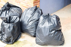 Close up black garbage bags Royalty Free Stock Photography