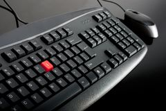 Close-up of black keyboard with mouse Stock Images
