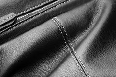 Close up of black leather bag zipper Royalty Free Stock Photos