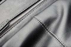 Close up of black leather bag zipper, black leather bag close up Stock Photos
