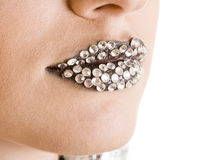 Close-up of black lips with strass Stock Photography