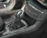 The close up of manual gear box lever. The close up of black manual gear box lever Royalty Free Stock Photo