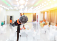 Close up black microphone in meeting hall. Or seminar room royalty free stock photos