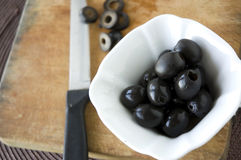 Close up black olives for cooking Stock Images