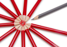 Close up of a black pencil standing out from a circle formed by. The tips of several red pencils. Isolated on the white stock photos